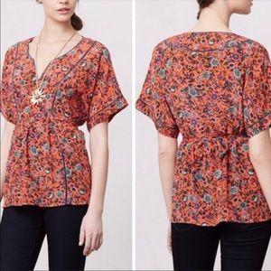 50% off in bundle - Maeve Anthropologie floral waist tie top